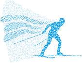 Vector illustration of a colorful skier — Stok Vektör