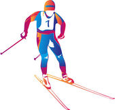 Vector illustration of a colorful skier — Stock Vector