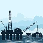 Oil platforms at sea — Stock Vector