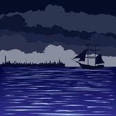 在海上夜 — 图库矢量图片