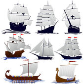 Old sailing ships — Stock Vector