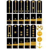 Shoulder straps and stripes with signs of distinction of the Navy of the Ru — Stock Vector