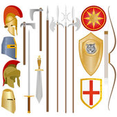 Weapon and armor of ancient soldiers — Stock Vector