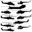 Contours of modern helicopters — Stock Vector