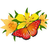 Butterfly on a flower-4 — Stock Vector