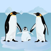 Penguins on an ice floe — Vector de stock