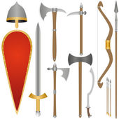 Weapon and armor of Old Russian soldiers — Stock Vector