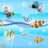 Butterflies and saltwater fish — Stock Vector