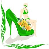 Shoes with flowers and girl — Stock Vector