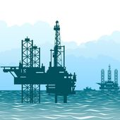 Oil rigs at sea-1 — Stock Vector