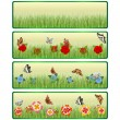 Grass, flowers and butterflies — Stock Vector