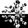 Stock Vector: Black and white abstract flower