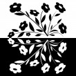 Black and white abstract flower-1 — Stock Vector