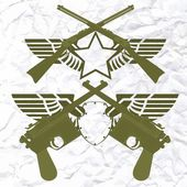 Badges with wings and small arms — Stok Vektör