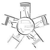自動車のエンジン — ストックベクタ