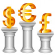 Currency symbols on sport podium. - Stock Vector