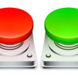Red and green buttons. — Stock Vector