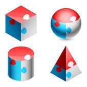 Puzzle figures. — Stock Vector