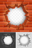 Crack in brick wall. — Stock Vector