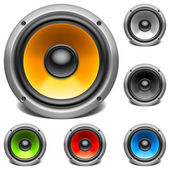 Color audio speakers. — Stockvector