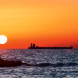 Red sunset over Mediterranean Sea — Stock Photo