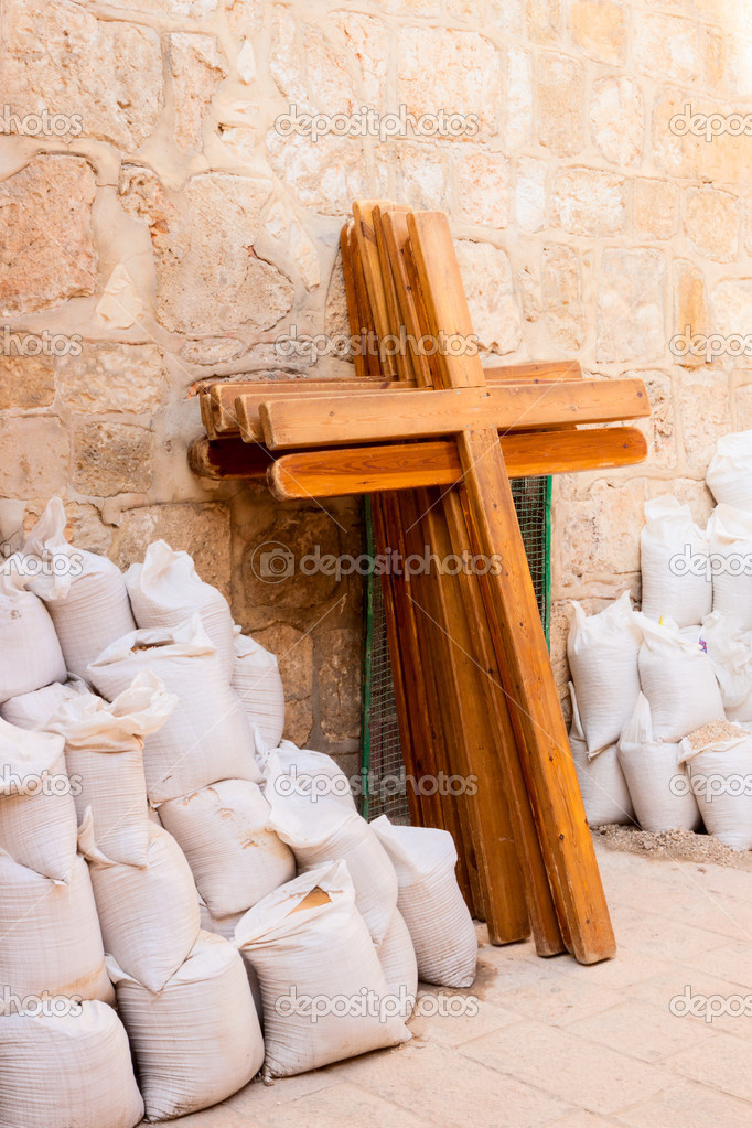 Wooden crosses near the Holy Sepulchre in Jerusalem  Stock Photo #16887867