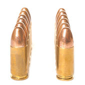 Two rows of 9mm bullets — Stock Photo