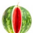 One notched vertical striped watermelon — Stock Photo