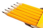 Bright pencils in a box — Stock Photo