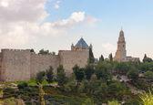 Panorama of walls old city Jerusalem — Stock Photo