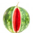 Single notched vertical striped watermelon — Stock Photo
