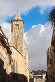 Hotel campanile na ulicy via dolorosa — Zdjęcie stockowe