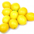 Billiards pyramid maked from yellow lemons — ストック写真