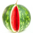 Stock Photo: One notched striped watermelon