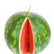 Stock Photo: Single notched striped watermelon