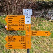 Signpost on the main pedestrian street in Vaduz — Stock Photo