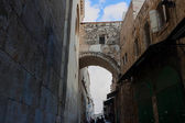 High arch over Via dolorosa street — 图库照片