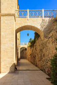 The narrow archway and pedestrian bridge — Stock Photo