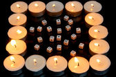 Candles & dices — Stock Photo