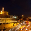 Stock Photo: Tower of David and traffic on Jaffa street in Jerusalem