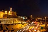 Tower of David and traffic on Jaffa street in Jerusalem — Stock Photo
