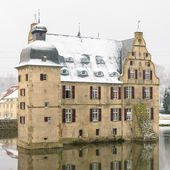 Water castle Dortmund covered with snow — Stock Photo