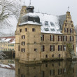 Stock Photo: Castle on water in Dortmund covered with snow