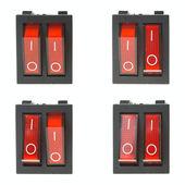 Conjunto de quatro botões elétricos vermelhos — Fotografia Stock