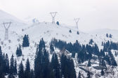 Power transmission line on the tops of the Alps — Stock fotografie