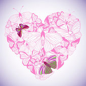 Abstract heart butterfly vector. — Stock Vector