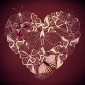Abstract heart butterfly vector. — Vector de stock