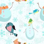 Modèle sans couture avec des bonhommes de neige, les oiseaux, les flocons de neige — Vecteur