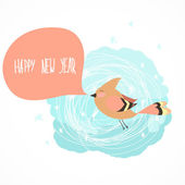 Blue tit wishing a Happy New Year — Stock Vector