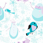 Seamless pattern with snowmen, birds, snowflakes — Stock Vector